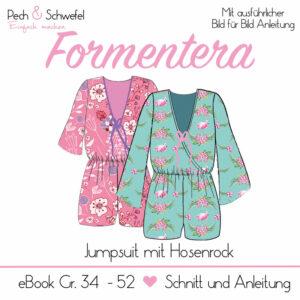 "2dac05980274cf E-Book – Jumpsuit ""Formentera"" weit geschnitten mit Hosenrock und zwei  Ärmellängen Gr. 34 – 52 in A4 und A0"